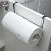 Bathroom paper tube roll holder stainless steel door rack towel holder hanging on kitchen cabinet door hook paper towel rack