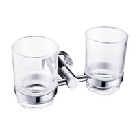 TZ17 Modern Clear Glass Double Cups Tumbler Holder Toothbrush Holder Chromed Stainless Steel Wall Mounted Bathroom Accessories