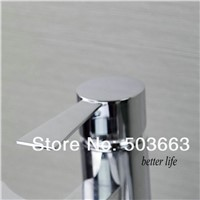 Waterfall Spout Bathroom Faucet Bathroom Basin Mixer Tap with Hot and Cold Water Taps Round Spout Chrome Brass