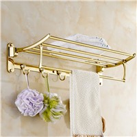High-end Luxury with 5 hooks European Folding Bath Towel Shelf movable Towel Rack Bathroom Accessories Titanium Gold Plating