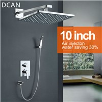 DCAN 10 Inch Air Shower Head Set Booster Saving Water Concealed Wall Mounted Box Shower Kit  Rainfall Brass Bath &Shower Faucets