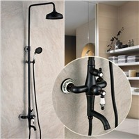 Luxury Antique Black Bathroom Shower Faucet Set Single Ceramic Handle Bath and Shower Faucet Bathtub faucet Bathroom faucet