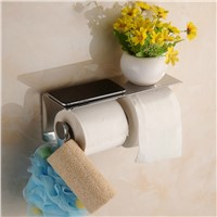 Stainless Steel Double Toilet Paper Box Wall Mounted Toilet Paper Napkin Holder With Multifunction Phone Holder Polish Bath Sets