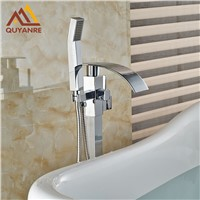 Bright Chrome Solid Brass Floor Stand Faucets Waterfall Spout Floor Mount Bathroom Tub Shower Mixer Tap
