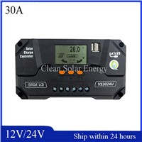 Smart 12V/24V Auto-Switch Solar Charge Controller/LCD Display Show Solar PV Panel Regulator/PMW Mode Plastic Sheel Controller