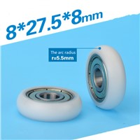 8 * 27.5 * 8 mm diameter 8 mm equipment doors and Windows pulley Small wheel rubber bearing pulley