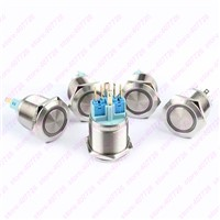1PC 22mm Metal Indication Switch LED 12V/24V RING Power Start Push Button 6PIN Momentary Auto Reset Stainless Steel Car Dash