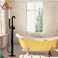 ORB blackend Single Handle With Plastic Handshower Floor Standing Bath Tub Faucet Mixer Hot and Cold Water Tap Black Color