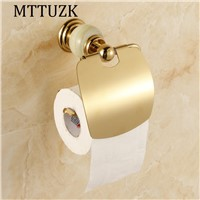 MTTUZK Luxury jade brass gold paper box roll holder toilet gold paper holder with cover tissue box Bathroom Accessories