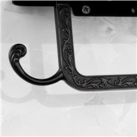European Style Black Toilet Paper Holder Rack Carved Wall Mounted Zinc Black Roll Shelf With Mobile Phone Holder