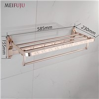 MEIFUJU NEW Space Aluminum Gold European Style Bathroom Accessories Foldable towel rack oxidation aluminium towel rack with hook