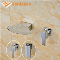 Wash Basin Sink Mixer Water Faucet with Single Handle Bright Chrome Finish Wall Mounted