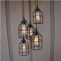 E27 Vintage Abajur  Iron Cage Lighting Metal Hanging Lamp Guard for String Light Lamp Holder Wire Lamp shade