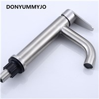 DONYUMMYJO Stylish Elegant Bathroom Basin Faucet  304 Stainless Steel Vessel Sink Water Tap Mixer Nickle Finished