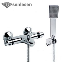 Senlesen Bathroom Shower Faucet Chrome Finish Thermostatic Water Taps with ABS Handshower