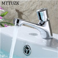 MTTUZK Deck Mounted Brass Time Delay Faucet Touch Press Auto Self Closing cold Water Saving Tap for Public Toilet Metered Faucet