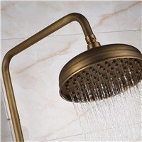 "Rainfall 8"" Showerhead Antique Brass Bath & Shower Faucets Thermostatic with Tub Filler and Heandshower Faucets"