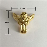 Zinc Alloy Beast Foot,Decoration Legs,Rose Flower Leg,Vintage Wooden Box,Cabinet Corner,Gold Plated Color,31*32mm