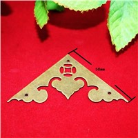 Brass Furniture Corners Triangle Fillet Gift Upscale Decorative Sheet Copper Purses Gusset,Anceient Flower Heart Corner,58mm