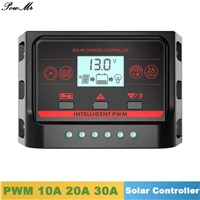 PWM Solar Charge Controller 10A 20A 30A Back Light LCD Display Solar Regulator 12V 24V Auto with 5V Dual USB Output for Lighting