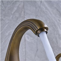 New Arrival High Quality Bathroom Basin Faucet Two Handles Antique Brass Water Taps