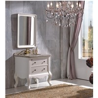 Antique Style White Rubber Wood Bathroom Cabinet with Mirror 0281-B-6008