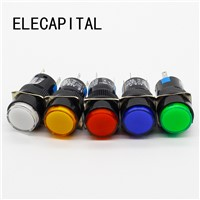 16mm DC 6V 12V 24V 220V LED Push Button Switch Blue Green Red Yellow White lamp Momentary push button auto reset