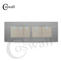 COSWALL 5 Gang 2 Way Luxury Light Switch Push Button Wall Interruptor With LED Indicator Stainless Steel Panel 197* 72mm