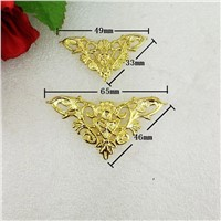 Wholesale Zinc Alloy Wooden Box Coner,Wine Box Protector,Embellishment Findings Triangle Corners Antique Flower Hollow,100Pcs