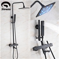 Oil Rubbed Bronze Thermostatic 8 Inch LED Rainfall Shower Head with Hand Shower Wall Mount