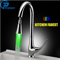 LED Light Rotatable Gooseneck Pull Down/out Spout Bathroom and Kitchen Sink Mixer Faucet Taps Single Handle