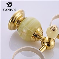 Yanjun Jade Stone Double Cup Tumbler Holder Brass Golden Wall Mounted Toothbrush Cup Holder Bathroom Accessories YJ-8165
