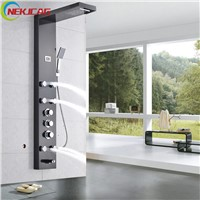Thermostatic Stainless Steel Wall Mounted Tower Shower Column Panel with Massage Jets Black Colors Shower Panel