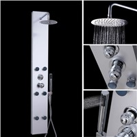 UK Shipping Stainless Steel Straight Shower Panel Moden Complete Shower Panel Unit Squar 6 Hydro Massage Body Jets MODEL:P216