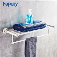 Fapully White Towel Rack Wall Mount Aluminum Bathroom Double Towel Rack Holder Hardware Accessory Bathroom