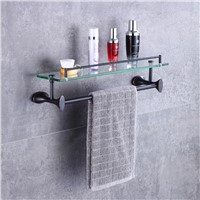 Two Tiers Bathroom Towel Rack, Bath Towel Holder Rack with Glass Shelf Wall Mounted Tower Bar with Hooks