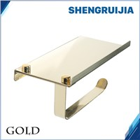 free ship gold 304 stainless steel toilet paper roll holder phone holder WC stainless steel paper holder tissue WC roll holder