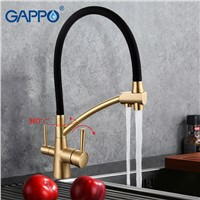 GAPPO 1set black mixer kitchen sink faucets with filtered water purifier taps Brass Mixer drinking water G4398/98-1  torneir