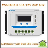 EPSOLAR VS6048AU 60A 12V/24V/36/48V PWM Solar Controller with LCD Display 5VDC USB Output for Solar Panel Charge AGM/GEL Battery