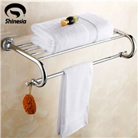 Chrome Polished Solid Brass Carved Bathroom Towel Rack Towel Shelves Bathroom Accessories Wall Mount