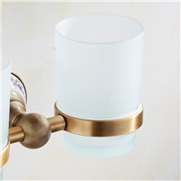 FLG Antique Bathroom Cup Holder Tooth Brush Tumbler Holder Space Aluminum Wall Mounted Bathroom Accessories