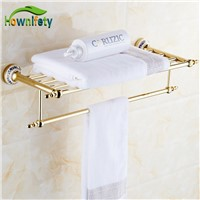 Luxury Solid Brass Gold Polished BathroomTowel Rack Blue and White Porcelain Towel Holder Wall Mount Towel Bar