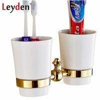 Leyden ORB/ Gold Toothbrush Tumbler Holder Brass Black Toothbrush Holder Wall Mounted Bath Cup Hanger Rack Bathroom Accessories