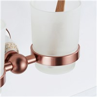 FLG Bathroom Cup Holder Double Glass Cup Holder Wall Mounted Tooth Brush Tumbler Holder Rose Gold  Bathroom Accessories