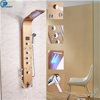 POIQIHY LED Light Rainfall Waterfall Shower Panel Shower Rose Golden Faucet with Hand Shower Multifunctional Body Jet