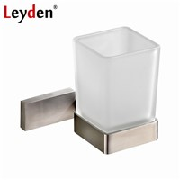 Leyden Square Toothbrush Tumbler Holder Modern Brushed Nickel Stainless Steel Cup Holder with Glass Cups Bathroom Accessories