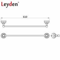 Leyden Antique Brass/ ORB Single Towel Bar Golden/ Black Wall Mounted White Porcelain Copper Towel Rack Bathroom Hardware