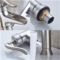 Fapully Basin Faucet Water Tap Bathroom Faucet Brushed Nickel Single Lever Waterfall Faucet Cold Hot Sink Tap Mixers