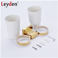 Leyden Luxury Golden/ Chrome Double Toothbrush Holder with Ceramic Cup Wall Mounted Brass Toothbrush Hanger Bathroom Accessories