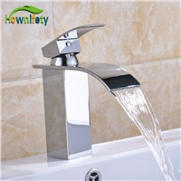 Solid Brass Chorme Bathroom Basin Faucet Waterfall Spout Faucet Single Lever Countertop Vessel Sink Tap